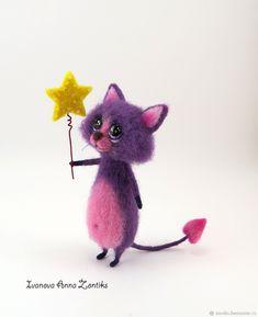 Купить Котик мечтатель - тёмно-фиолетовый, кот, День Святого Валентина, Кошки, коты и кошки