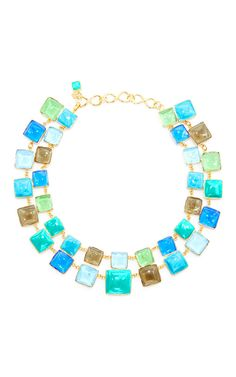 24 K Yellow Gold Plated, Turquoise, Aquamarine, And Mint Green Mosaic Necklace by LOULOU DE LA FALAISE for Preorder on Moda Operandi