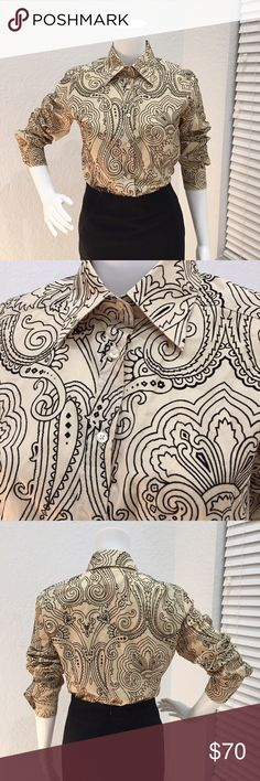 Etro Button Down Blouse Etro Button Down Blouse. Black paisley pattern on tan background. Pattern is slightly raised with velvet like texture. Round bottom. Has some stretch. No care or material tag but feels like fine cotton. Size 44. Etro Tops Button Down Shirts