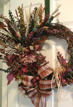 Dry Floral  Wreath, Eucalyptus, Hydrangea Wreath, Grapevine Wreath, Rustic Country Primitive Wreath, SHIPPING INCLUDED, Kitchen  Wreath by GiftsByWhatABeautifu on Etsy