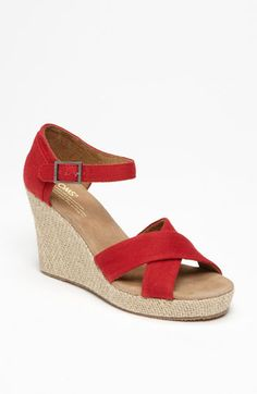 Toms canvas wedge sandals.