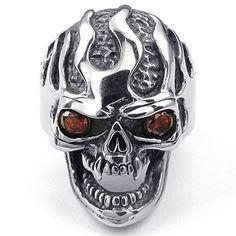 KONOV Joyería Anillo de hombre, Gótico Biker Calavera Cráneo Halloween, Circonita Acero inoxidable, Color rojo negro plata (con bolsa de regalo)