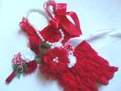 4 pcs Red Lace Petti Romper Red Shabby by CositaBellaCreations, $39.99