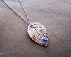 Silver Leaf pendant Fine Silver pendant  with by ElvenAdornments, $69.00
