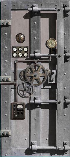 Steampunk design interior Door wrap sticker