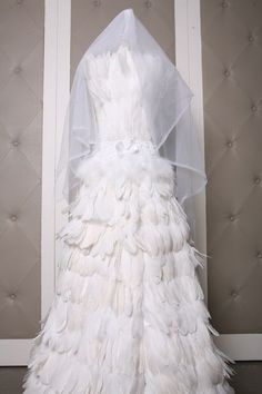 White Feather Bridal Dress Corset Top and Long by LavederFaye, $720.99