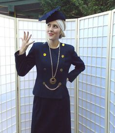 Vintage Navy Blue Women's Power Suit .1980's does 40's Military Style . Gold…