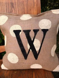 Burlap Pillow with Polka Dots 16 by ModernRusticGirl on Etsy, $28.00