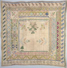 "This sampler is medium: silk embroidery on cotton foundation technique: embroidered in satin, cross, stem, chain, four-sided, back, and running stitches on plain weave foundation. Its dimensions are: H x W: 66.7 x 67.3 cm (26 1/4 x 26 1/2 in.).  It is inscribed ""Me labro Isadora Txada siendo mi maestra Maria Bacas 776?"".  This sampler is from Spain and dated ""possibly 1776""."