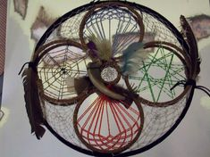 A GATHERING OF ELEMENTS ... This Dream Catcher represents the five elements. It is not a part of my elemental series, but is a separate study. The five elements present are: Wind (Green), Water (blue), Fire (red), Earth (Brown) and Heaven (the outer rim baring the feathers and inner ring.) - by ~Holylazers
