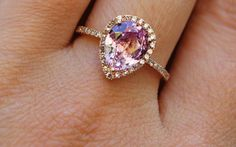 Rose Gold pear cut pink diamond or padparadscha sapphire ring