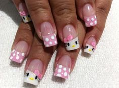¿Cómo decorar tus uñas con Hello Kitty? (Tutorial) | Vibra Fancy Nail Art, Fancy Nails, Pedicure, Hello Kitty Nails, Disney Nails, Nail Games, Dream Nails, Hot Nails, Creative Nails