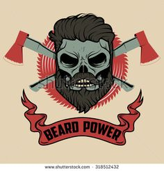 beard power. Skull with beard and two axes. Vector illustration.