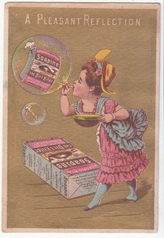 Soapine Kendall Mfg Providence RI Girl Blowing Bubbles Victorian Card c 1880s