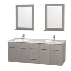 Buy the Wyndham Collection Gray Oak / White Stone Top Direct. Shop for the Wyndham Collection Gray Oak / White Stone Top Centra Wall Mounted / Floating Vanity Set with Hardwood Cabinet, Marble Top, 2 Undermount Sinks, and 2 Framed Vanity Mirrors and save. Oak Bathroom Vanity, Double Sink Bathroom, Double Sink Vanity, Vanity Set With Mirror, Wall Mounted Vanity, Bathroom Furniture, Vanity Mirrors, Modern Bathroom, Modern Wall