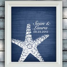 Starfish Connection - Custom Beach Wedding Name Date Print - Personalized Wedding Gift - Bridal Shower Gift - Engagement Present - Unframed by spoiledroyalstudio on Etsy https://www.etsy.com/listing/108376430/starfish-connection-custom-beach-wedding