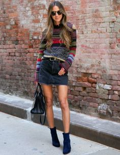 Arielle Nachami + vintage chic + corduroy skirt + suede booties + colourful horizontal stripes + shades of navy   Sweater And Skirt Outfits: Boots: Stuart Weitzman