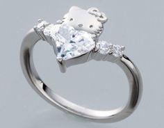 hello kitty x swarovski elements curve heart wedding ring silver japan gift fs