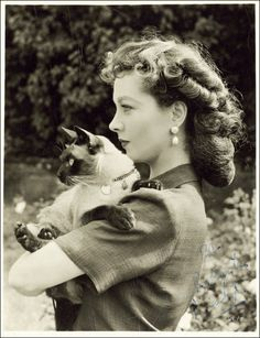 Vivien Leigh bad ass w/ her beautiful siamese!