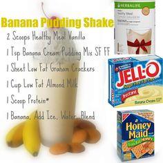 shake to lose weight meal replacements Banana pudding herbalife shake I used water and vanilla pudding. And 2 scoops of each! shake to lose weight meal replacements Banana pudding herbalife shake I used water and vanilla pudding. And 2 scoops of each! Herbalife Shake Recipes, Protein Shake Recipes, Herbalife Nutrition, Protein Shakes, Smoothie Recipes, Herbalife Protein, Protein Smoothies, Fruit Smoothies, Milkshake Recipes