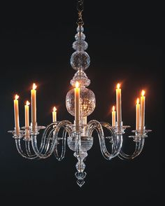 The Thornham Hall Chandelier. 10 branches   Wilkinson's fine reproduction of one of the earliest surviving examples of an English Georgian lead crystal chandelier. The original was made for Thornham Hall in Suffolk in 1732 and now hangs at Winterthur, Delaware. This reproduction was commissioned by English Heritage for Chiswick House, London and features lead crystal baluster stempieces and 10 scrolled arms typical of the shapes used on the earlier17th century Flemish metal chandeliers.