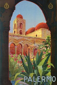 vintage 1920s Palermo Sicily Italian travel ad by aapshop
