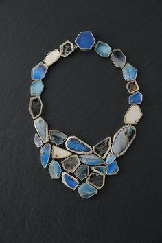 Necklace | Asagi Maeda. 'Blue Glaciers' Sterling silver, Enamel on fine silver, 18K gold, Bolder Opal, Sapphire, Aquamarine, plastic