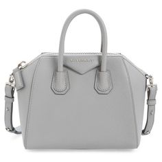 Givenchy 'Mini Antigona' Sugar Leather Satchel ($1,750) ❤ liked on Polyvore featuring bags, handbags, pearl grey, mini satchel handbags, genuine leather purse, grey purse, grey leather handbag and mini handbags