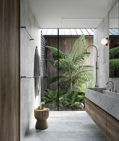Indoor Outdoor Bathroom, Outdoor Baby, Cozy Bathroom, Bathroom Goals, Garden Bathroom, Open Bathroom, Bathroom Ideas, Remodled Bathrooms, Colorful Bathroom