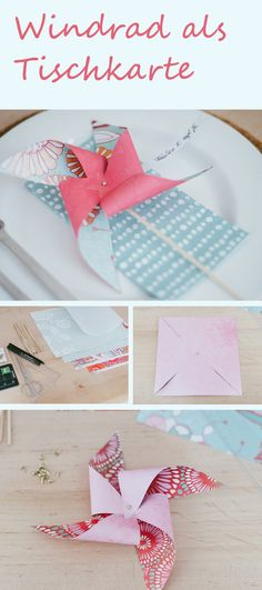 DIY: Windrad als Tischkarte Sweet idea for place cards wanted? www. Diy Pinwheel, Diy And Crafts, Paper Crafts, Spring Crafts For Kids, Diy Papier, Wedding Place Cards, Card Wedding, Decoration Table, Pinwheels