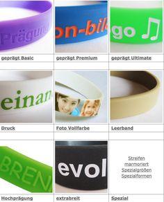 alle ownBand-Styles auf einem Blick...Von hochgeprägt bis zu mehrfarbigen Druck, hier ist für jeden Geschmack etwas dabei. Go and get your ownBand-Armband-Style!!!