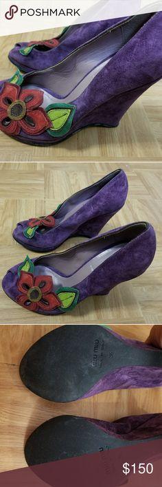 Miu Miu Open Toe Wedge Heels Miu Miu Open Toe Wedge Heels Size 6. Barely Used. Miu Miu Shoes Wedges