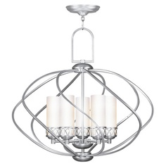 Five-light chandelier with hand-blown satin glass shades.   Product: ChandelierConstruction Material: Metal and g...