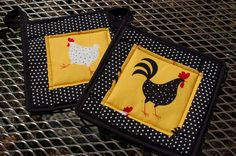 Chicken and Rooster pot holder set