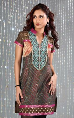 East Indian Tunic Tops | PARTYWEAR INDIAN KURTI-TUNIC- INDIAN EMBROIDERED KURTI- DESIGNER TUNIC ...