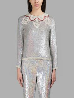 ASHISH ASHISH WOMEN'S SILVER SPARKLING LONG SLEEVES TOP. #ashish #cloth #tops