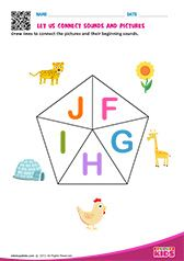 Phonic Match F to J Letter S Worksheets, Alphabet Worksheets, Alphabet Activities, Preschool Phonics, Teaching Kindergarten, Preschool Worksheets, Alphabet Sounds, Phonics Sounds, English Phonics