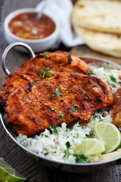 Tandoori chicken- serve with naan and mango chutney INDIAN
