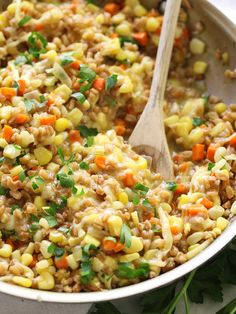//Yummy alternative to rice risotto...Sweet Corn, Gouda and Farro Risotto on foodiecrush.com