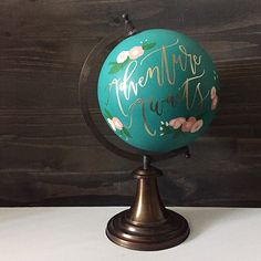 Hand painted globe for an awesome-time wedding this weekend, aka the owners of @theprintedpalette #happilyhummel #twinkleandtoast #adventureawaits