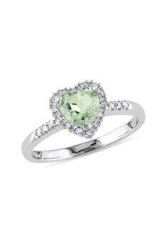 10K White Gold Diamond Halo Green Amethyst Heart Ring