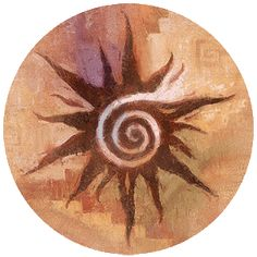 "Southwest Spirit Coasters - ""Spiral Sun"". Desert Canyon Gifts presents a variety of Southwestern Themed Beverage Coasters. Everything from cactus images to kokopelli, geckos, pottery, etc. These sandstone coasters are great accents to your Southwest Decor or simply purchase for a gift for any occasion. Made from natural sandstone - cork backing. 4"" diameter. Set of 4 - $19.99"