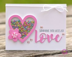 Valentines Day card - love the shaker heart, pinwheel button and layered LOVE die cut!