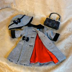 American Girl, 18 inch doll clothes: Wool coat and hat with velvet trim, purse. Anne of Green Gables Outfit by Sugarloaf Doll Clothes D.This American Girl Doll winter outfit is so cute.I want to try that on my ag dolls Boutique Doll Dress in Crazyday Sewing Doll Clothes, American Doll Clothes, Baby Doll Clothes, Doll Clothes Patterns, Barbie Clothes, Doll Patterns, Clothing Patterns, Kids Outfits, Doll Outfits