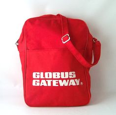 vintage carryon bag red white globus gateway by RecycleBuyVintage, $20.00