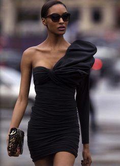 Half shoulder little black dress