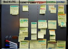 """To do. Doing. Done. Kanban system. """"You don't have to switch systems or give up your tools—you can just remix your method a little bit."""" Extensive article."""