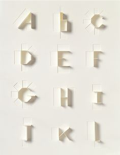 From the AIGA Archives, a beautiful alphabet designed by Sonya Dyakova for Phaidon in 2007.  The alphabet sprung from wanting to highlight what makes sculpture different from other art forms. By cutting and folding a flat sheet of paper, a three-dimensional alphabet was devised. A considerabl