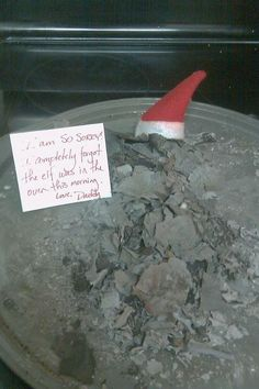 We do not own an Elf on the Shelf this year, probably because i would do something like this (im known to rebake cakes left on plates in the oven).