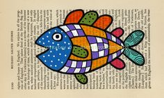 Colorful Flying Blimp Fish Folk Art original by blueyeduckstudios